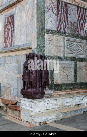The Tetrarchs sculpture, Basilica San Marco, Piazza San Marco, Venice - Stock Photo