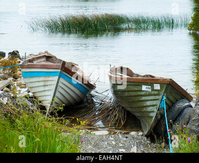 Lake angling boats drawn up on the lake shore at Lough Corrib, County Galway, Ireland - Stock Photo