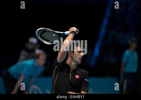 O2 arena, London, UK. 15th November, 2014. Barclays ATP semi-finals match, singles players Novak DJOKOVIC (SRB) - Stock Photo