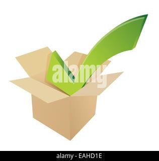 Check mark box cardboard. illustration - Stock Photo