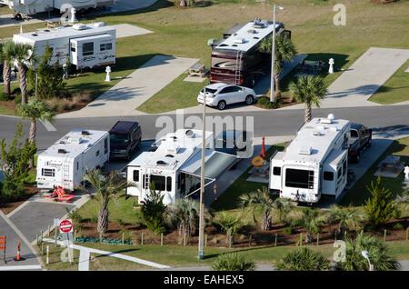 RV and trailer park on Santa Rosa Sound Florida USA - Stock Photo