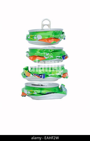 smashed soda cans mixed to be a new shape of soda can, recycle concept, isolated on white background - Stock Photo
