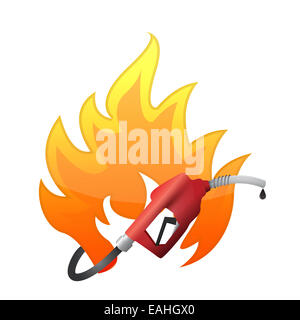 Fire with a gas pump nozzle - Stock Photo