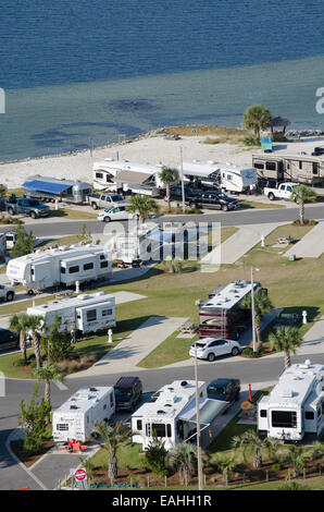RV and trailer park on Santa Rosa Sound Pensacola Beach northern Florida USA - Stock Photo