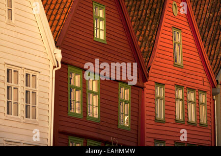 Colorful wooden houses in Bryggen old wharf district, Bergen, Norway - Stock Photo