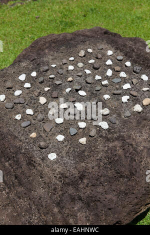 Konane, Mu, Hawaiian checkers game with stone pieces, Kauai, Hawaii USA - Stock Photo