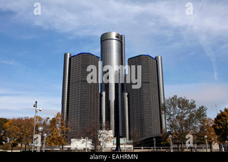 A view of the General Motors headquarters in downtown Detroit - Stock Photo