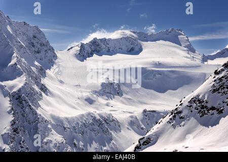 Ski pistes and lifts on Glacier in Solden ski resort in Otztal Alps in Tirol, Austria - Stock Photo