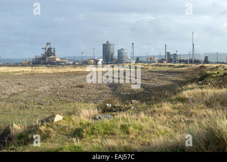 Wasteland at South Gare, Teesside with Tata Steel, Redcar works in the background. - Stock Photo
