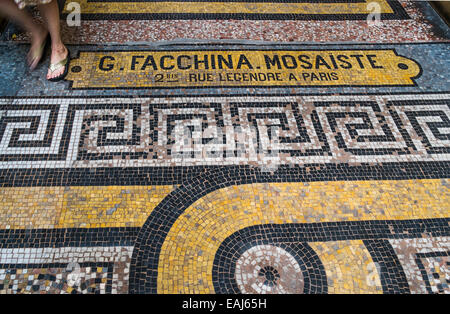 mosaic with the adress of mosaic artist g. facchina  in the  historic indoor shopping mall galerie vivienne, paris - Stock Photo