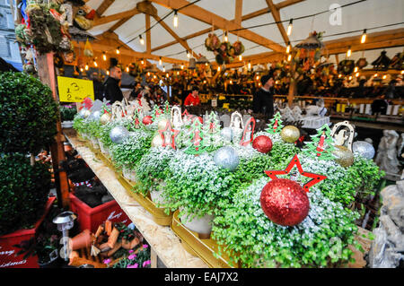 Belfast, Northerm Ireland. 15th November, 2014.  Christmas decorations on sale as the annual continental market - Stock Photo