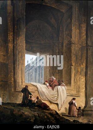 Characters in a bay at Saint Peter's in Rome 1763 Hubert Robert Paris, 1733 – Paris, 1808 France French - Stock Photo