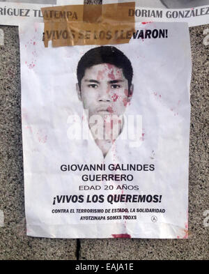 Guerrero State, Mexico. 15th Nov, 2014. A portrait of missing student Giovanni Galindez Guerrero painted with red - Stock Photo