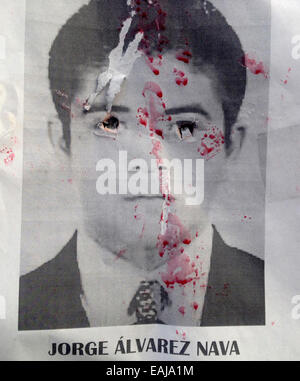 Guerrero State, Mexico. 15th Nov, 2014. A portrait of missing student Jorge Alvarez Nava painted with red paint - Stock Photo