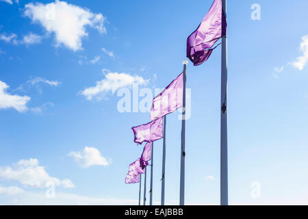 Purple flags flying on the seafront at Southend on sea, Essex. - Stock Photo
