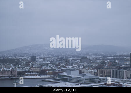 Oslo city and Opera house on a cold winter day - Stock Photo
