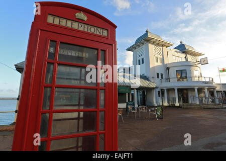 Phone box, Penarth Pier, Penarth, Vale of Glamorgan, South Wales, United Kingdom, UK, EU. - Stock Photo