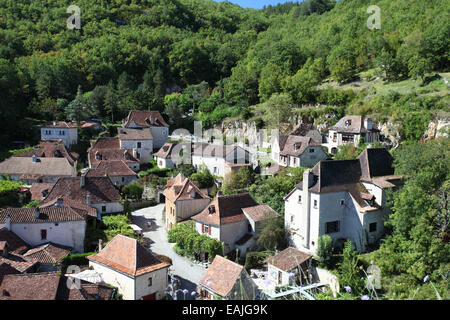 Saint-Cirq Lapopie a pretty medieval village in the Lot department, France - Stock Photo
