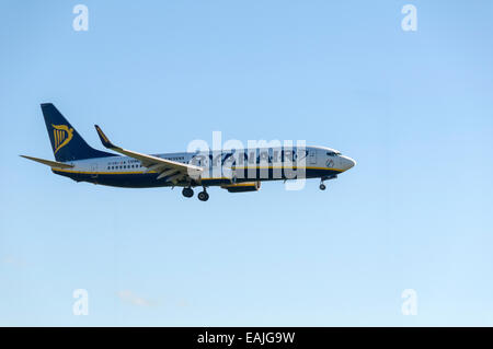 Ryanair Boeing 737-8AS coming in to land at Manchester Airport,  England, UK - Stock Photo