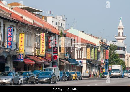 Street scene in Geylang Road, Singapore - Stock Photo