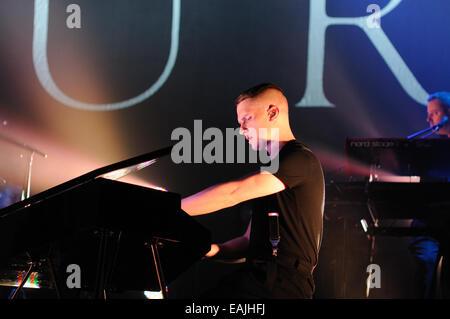 BENICASIM, SPAIN - JULY 18: The pianist of Hurts (band) performs at FIB (Festival Internacional de Benicassim) 2013 - Stock Photo