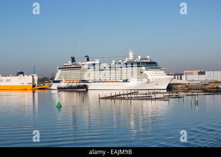 Cruise liner 'Celebrity Eclipse' moored at Southampton Docks on the Solent, Hampshire, UK - Stock Photo