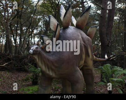 Model of a Stegosaurus, full-size and lifelike dino statue at  Dinopark Amersfoort Zoo, The Netherlands, from the - Stock Photo