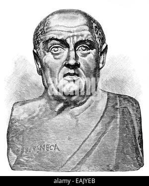 bust of Lucius Annaeus Seneca or Seneca the Younger, 1 - 65 AD, a Roman philosopher, dramatist, scientist, statesman - Stock Photo
