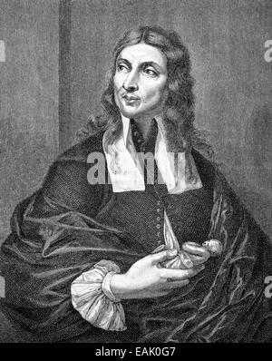 Portait of Salvator Rosa,  1615 - 1673, an Italian Baroque painter, poet and printmaker, Portrait von Salvator Rosa, - Stock Photo
