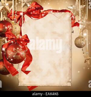 Christmas celebration theme with blank paper for text - Stock Photo