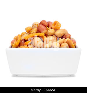 a bowl with mixed nuts, such as roasted and salted peanuts, almonds or chickpeas on a white background - Stock Photo