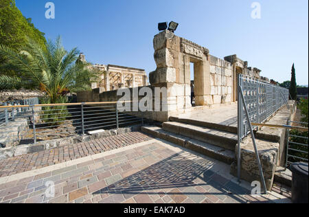 The ruins of the synagogue in the small town Capernaum on the coast of the lake of Galilee.  According to the bible - Stock Photo