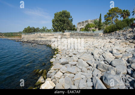 The beach of the little village Capernaum on the sea of Galilee - Stock Photo