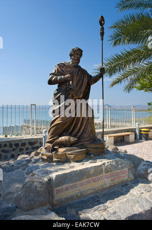 Statue of apostle Peter near the waterside of Capernaum on the sea of Galilee - Stock Photo