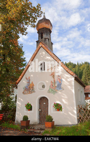 Chapel with lueftlmalerei, traditional murals, Klais, Werdenfelser Land, Upper Bavaria, Bavaria, Germany - Stock Photo