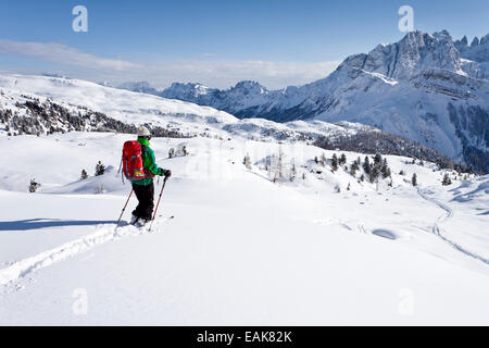 Cross country skier descending Juribrutto Mountain, looking towards the Pala Group, with Passo Valles pass below - Stock Photo