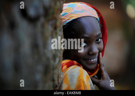 Young girl from the village of Idool, Idool, Adamawa Region, Cameroon - Stock Photo