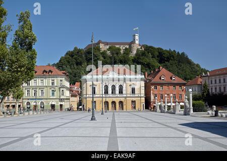 Academia Philharmonicorum, Congress Square, Ljubljana, Slovenia - Stock Photo