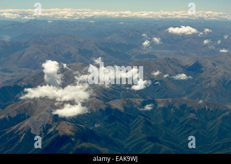 Aerial view, Oxford Forest in the Southern Alps, Canterbury Region, New Zealand - Stock Photo