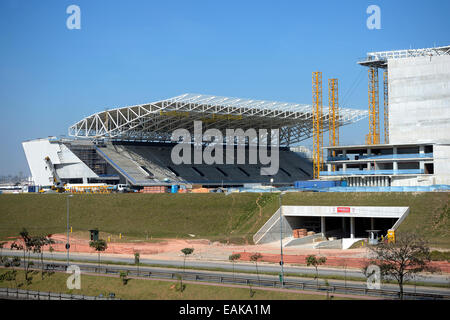 Construction site of the Arena Corinthians stadium, a venue for the 2014 Football World Cup, Itaquera, São Paulo, - Stock Photo