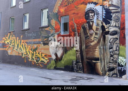 Mural with a Native American motif, Montréal, Quebec Province, Canada - Stock Photo
