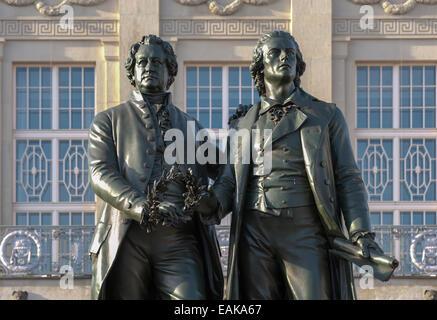 Goethe-Schiller Monument, Weimar, Thuringia, Germany - Stock Photo