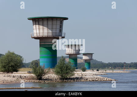 Pumping stations on the banks of the Rhine River, ThyssenKrupp Steel steelworks, Duisburg, Ruhr district, North - Stock Photo
