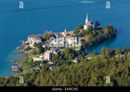 View from Pyramidenkogel Mountain, Lake Woerth, Maria Woerth, Keutschach am See, Carinthia, Austria - Stock Photo