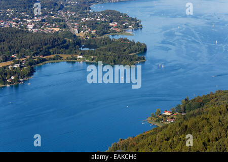 View from Pyramidenkogel Mountain, Lake Woerth with Krumpendorf, Keutschach am See, Carinthia, Austria - Stock Photo