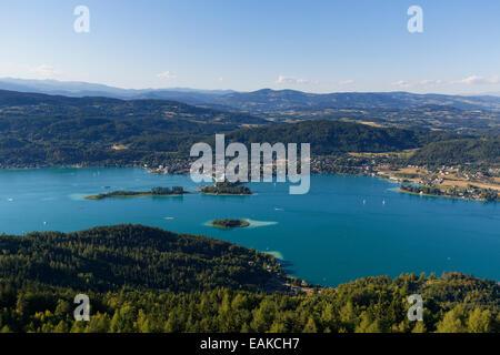 View from Pyramidenkogel Mountain, Lake Woerth, Poertschach am Woerthersee, Keutschach am See, Carinthia, Austria - Stock Photo