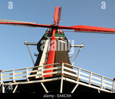 Dutch windmill De Hoop from 1875 in the village Norg. Netherlands - Stock Photo