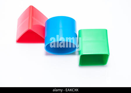 Three geometric forms on white background - Stock Photo