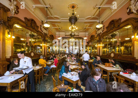Café Majestic, Art Nouveau cafe, tavern, restaurant dining, Porto, District of Porto, Portugal - Stock Photo