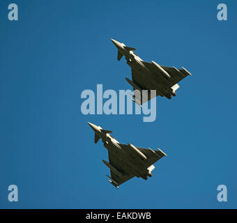 Paired flypast, Eurofighter Typhoon FRG4s on approach to RAF Lossiemouth, Morayshire.  SCO 9152 - Stock Photo